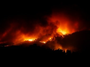 A forest fire is seen near Tojeira, Pedrogao Grande, in central Portugal.Reuters.