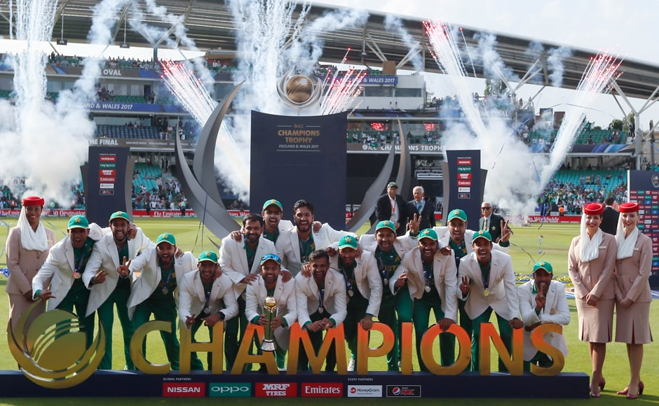 Pakistan players pose with the trophy after one of their best performances in recent years. AP