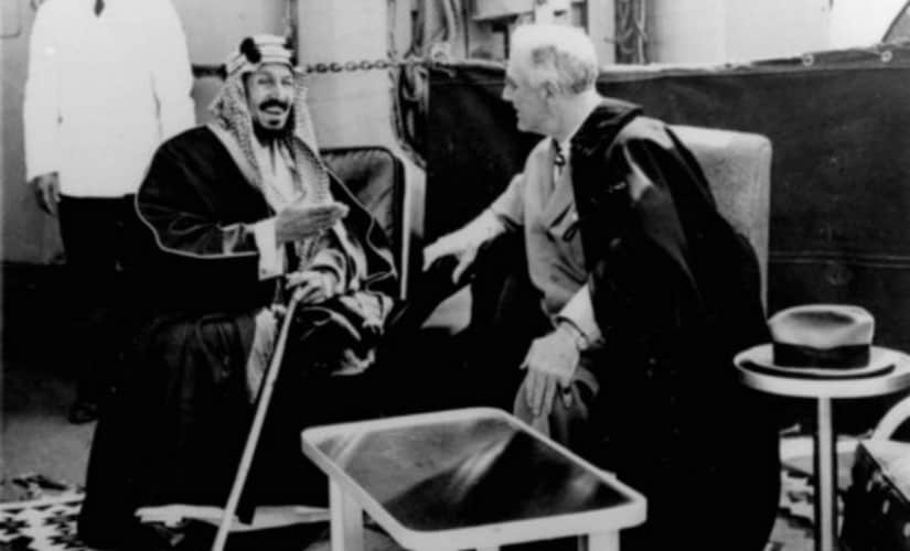US President Franklin D. Roosevelt(R) and King Abdul Aziz Ibn Saud discuss Saudi- US relations. AP