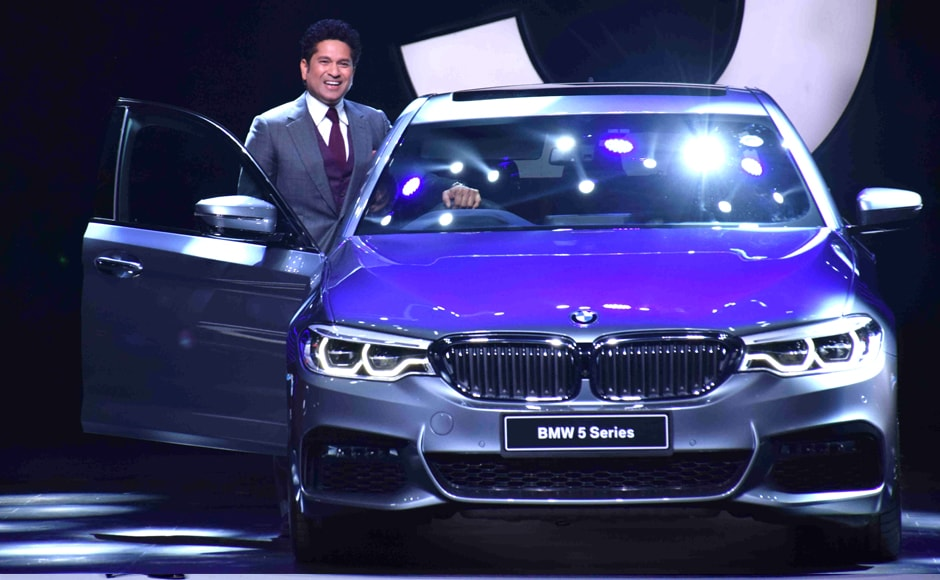 Former Indian cricketer Sachin Tendulkar unveils the all-new BMW 5 Series in Mumbai, India, on 29 July 2017. Solaris