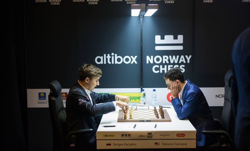 Karjakin and Caruana prepping up before the action began. (image courtesy: Lennart Ootes)