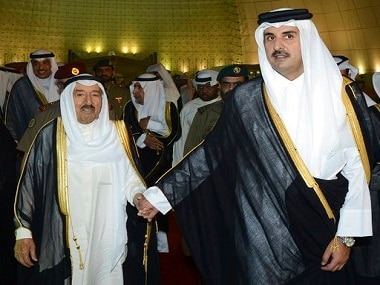 Kuwait's Emir Sheikh Sabah Al Ahmad Al Sabah with Qatar's Emir Sheikh Tamim bin Hamad Al Thani. AP