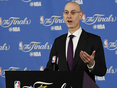 NBA commissioner Adam Silver addressing a press conference before game one of the Finals between the Golden State Warriors and the Cleveland Cavaliers . Reuters