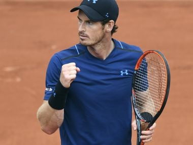 Andy Murray celebrates after winning a point against Juan Martin del Potro during their match. AFP