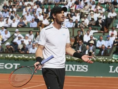 Britain's Andy Murray questions a call in his quarterfinal match against Japan's Kei Nishikori of the French Open tennis tournament at the Roland Garros stadium, in Paris, France. Wednesday, June 7, 2017. (AP Photo/David Vincent)