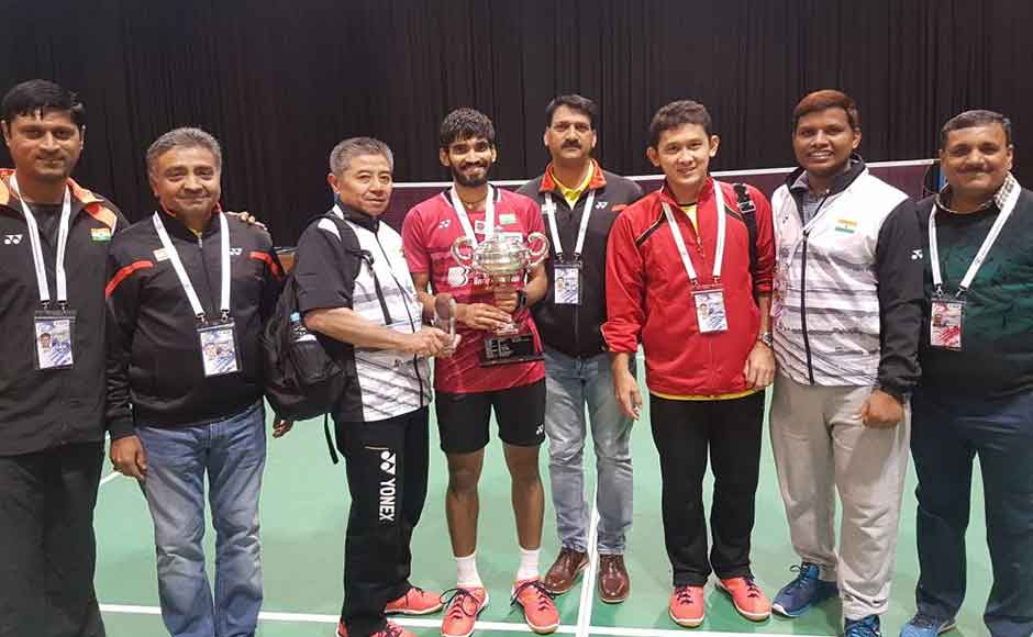 Srikanth emphasized on the importance of his coach Mulyo Handoyo(on Srikanth's left)in his training and having a simple approach to the game. Twitter/@BAI_Media