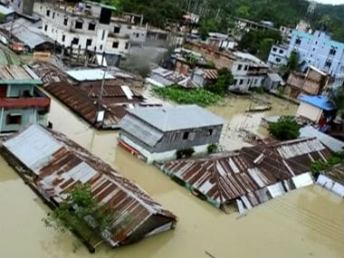 An aerial view showing a town in Bangladesh half-submerged in floodwaters following landslides. Reuters