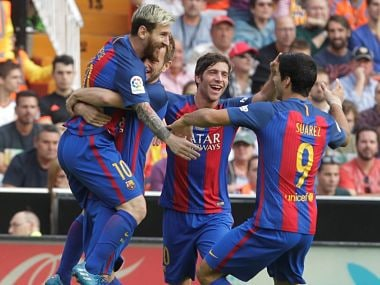 File image of Barcelona players. Reuters