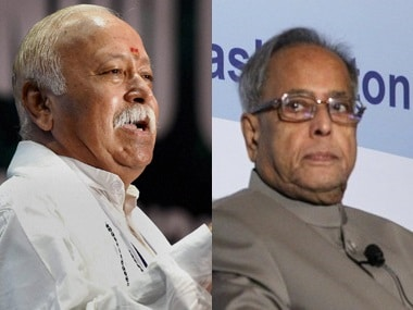 File image of Mohan Bhagwat and Pranab Mukherjee. Firstpost