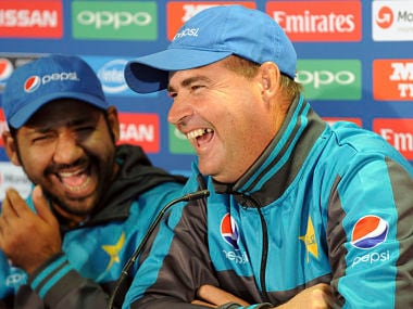 Pakistan coach Mickey Arthur attends a press conference with captain Sarfraz Ahmed ahead of their ICC Champions Trophy. AP