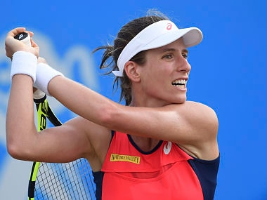 Great Britain's Johanna Konta in action against Croatia's Donna Vekic during the women's final on day seven of the Nottingham Open at Nottingham Tennis Centre, England, Sunday June 18, 2017. ( Joe Giddens/PA via AP)