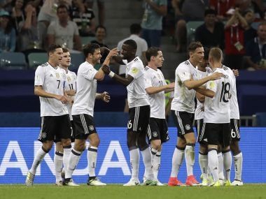 Germany players celebrate after scoring their third goal during the semi-final. AP