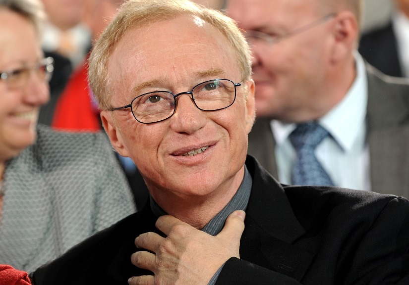 """FILE - In this Oct. 10, 2010 file photo, Israeli author and journalist David Grossman reacts after receiving the peace prize of the German booktrade, in Frankfurt, Germany. Grossman has won the Man Booker International Prize for his novel """"A Horse Walks Into a Bar."""" The award was announced Wednesday, June 14, 2017, in London. (AP Photo/dapd, Thomas Lohnes, File)"""
