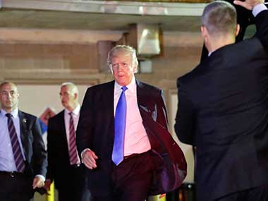Donald Trump walks to his vehicle after visiting MedStar Washington Hospital Center in Washington, where House Majority Leader Steve Scalise was taken after being shot in Alexandria, during a Congressional baseball practice. AP