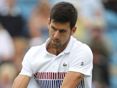 Novak Djokovic in action during his match against Vasek Pospisil at Eastbourne. AP
