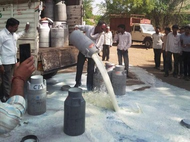 Farmers spilling out milk on a road in Aurangabad on Thursday. PTI
