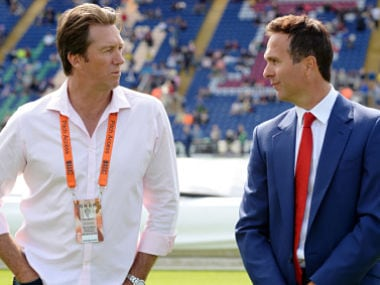 Former Australia player Glenn McGrath with former England player Michael Vaughan.Reuters