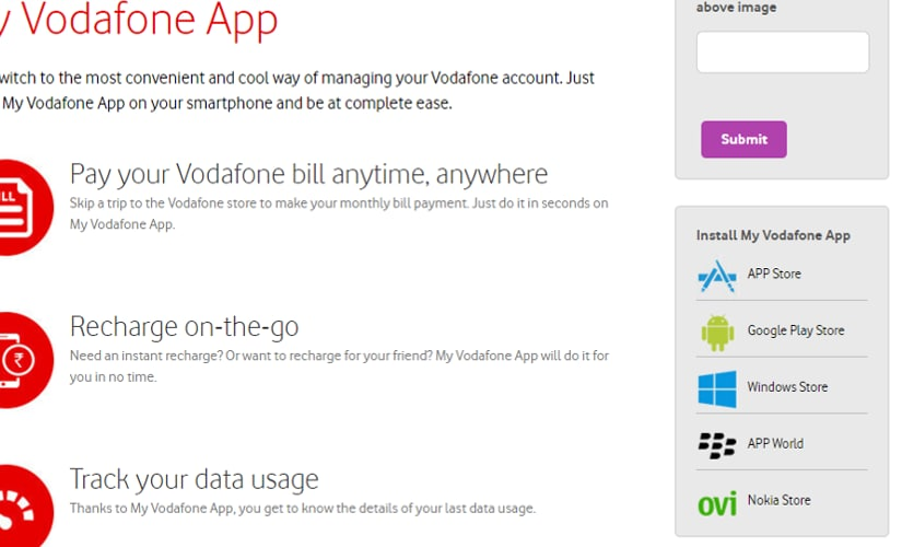 How to recharge via Vodafone app