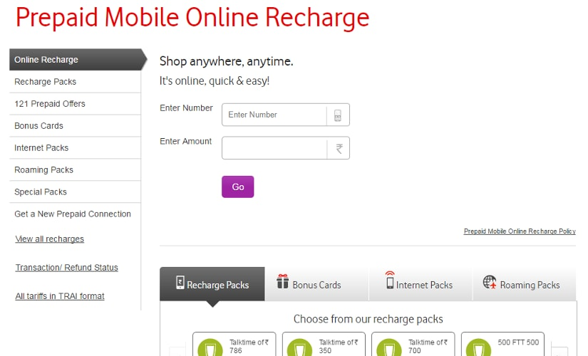 How to recharge vodafone
