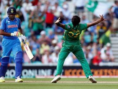 Pakistan's Hasan Ali celebrates taking the wicket of R Ashwin. Reuters
