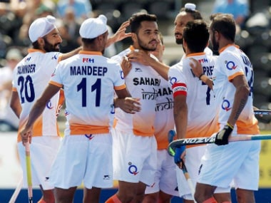 India celebrate after scoring during the Men's World Hockey League Pool B match against Scotland. Photo courtesy: Facebook/@TheHockeyIndia