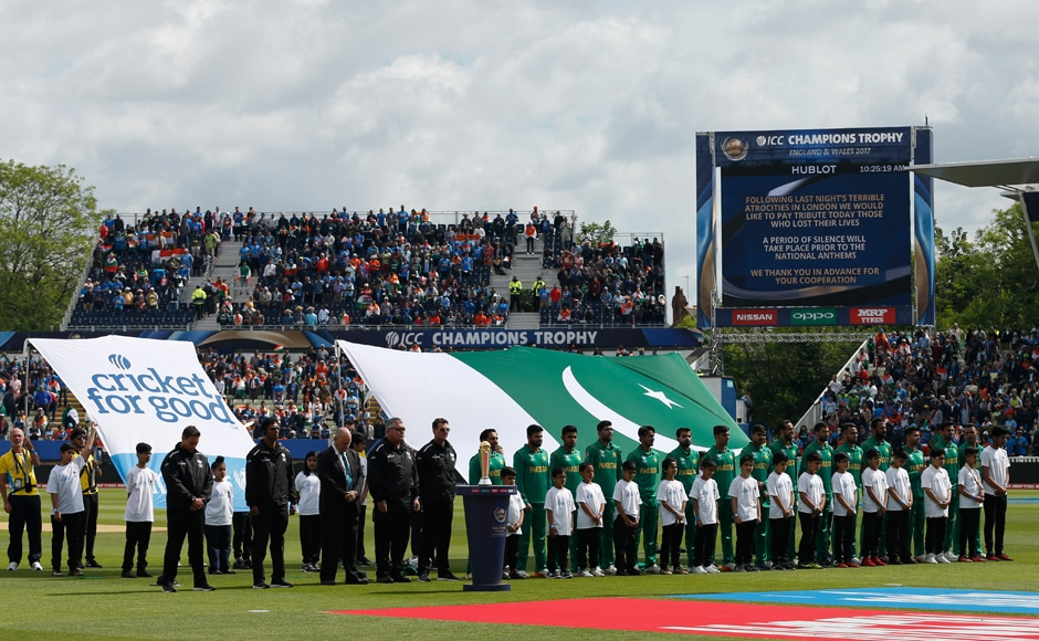 The Pakistan team  line up for their national anthem, hoping to overcome India's challenge. Reuters