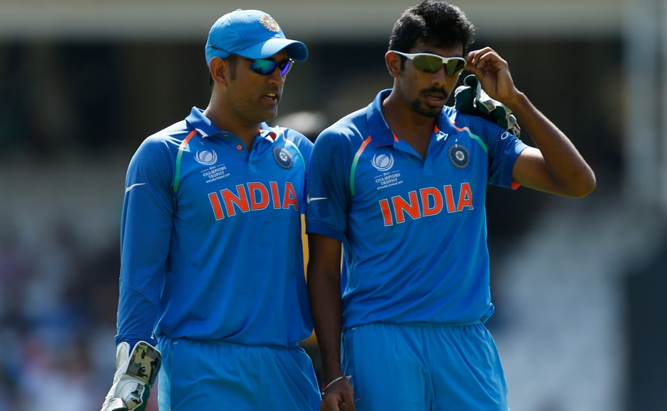 From the start, luck was on Pakistan's side as Pakistan's Fakhar Zaman was dismissed by India's Jasprit Bumrah but the delivery was adjudged a no-ball. Here, MS Dhoni speaks with him at the end of that over. Reuters