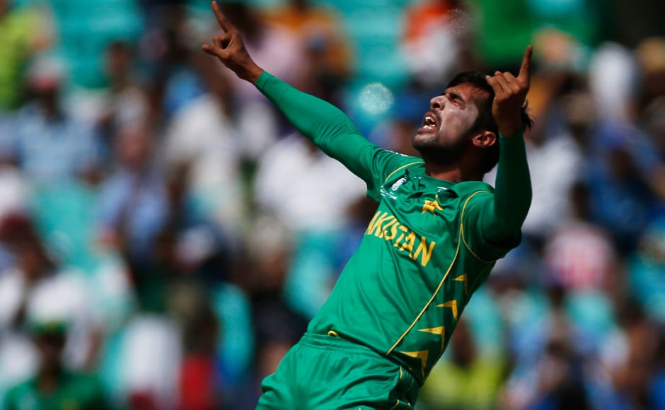 Pakistan's Mohammad Amir was back to his best as he trapped India's Rohit Sharma LBW for a duck in the first over. Reuters