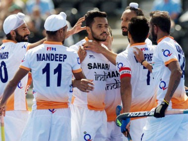 The Indian team is on a roll in the Hockey World League Semi-finals, having beaten Scotland and Canada so far in the tournament. Image courtesy: Hockey India via Twitter