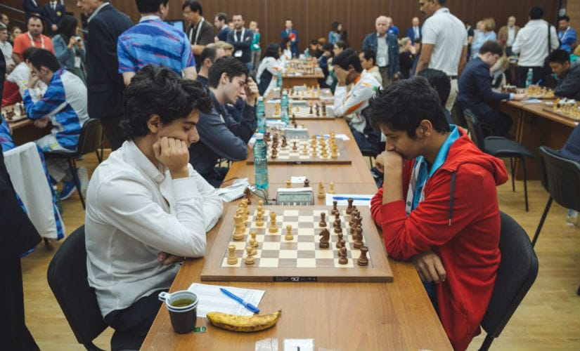 In the final round, Vidit Gujrathi had to play one of his good friends, Aryan Tari. Image courtesy: FIDE