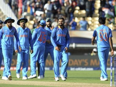 Indian players celebrate their win over Pakistan in the Champions Trophy group stage. AP