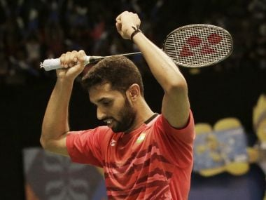 HS Prannoy reacts after defeating Chen Long in their quarter-final match at Indonesia Open. AP