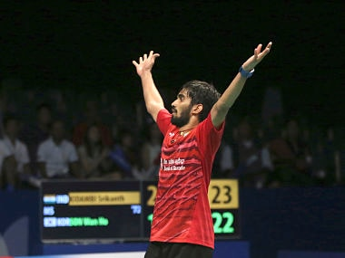 India's Srikanth Kidambi reacts after defeating South Korea's Son Wan-ho during their men's singles semi final match at Indonesia Open. AP