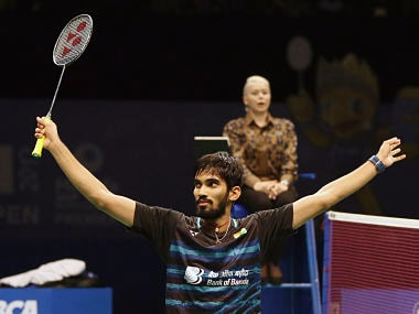 India's Srikanth Kidambi celebrates after defeating Japan's Kazumasa Sakai during their men's singles final match at Indonesia Open badminton championship in Jakarta, Indonesia, Sunday, June 18, 2017. (AP Photo/Dita Alangkara)