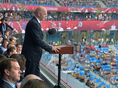 FIFA President Gianni Infantino speaks before the Confederations Cup, Group A soccer match between Russia and New Zealand, at the St. Petersburg Stadium, in St. Petersburg, Russia, Saturday, June 17, 2017. The Confederations Cup has kicked off with host nation Russia opening the World Cup rehearsal tournament against New Zealand. At left, Russian Prime Minister Dmitry Medvedev. (Alexei Druzhinin/Sputnik, Kremlin Pool Photo via AP)