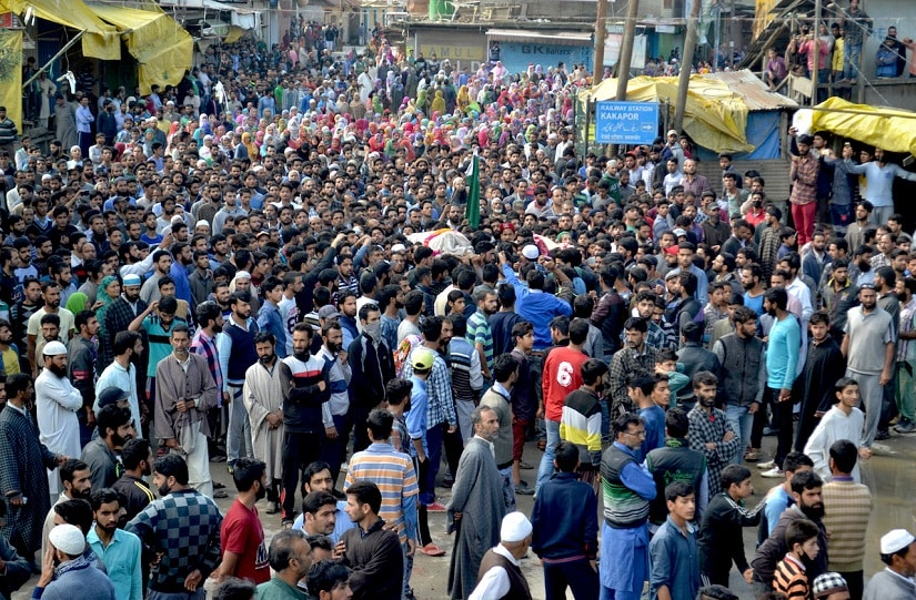 Thousands attend the funeral prayers of two of three Lashkar-e-Taiba militants Shakir and Majid Ahmad killed at Kakpora, Pulwama on Thursday. Hilal Shah