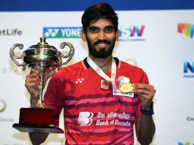 Kidambi Srikanth poses after winning his maiden Australia Open. Twitter: Badminton updates