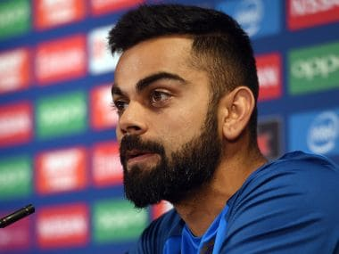 India captain Virat Kohli attends a press conference at Edgbaston cricket ground in Birmingham on June 3, 2017, ahead of the ICC Champions Trophy cricket match between Pakistan and India. / AFP PHOTO / PAUL ELLIS / RESTRICTED TO EDITORIAL USE