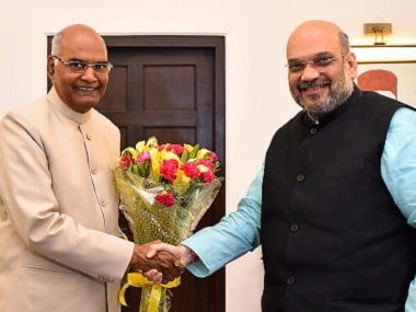 Ram Nath Kovind (left) with Amit Shah. PTI