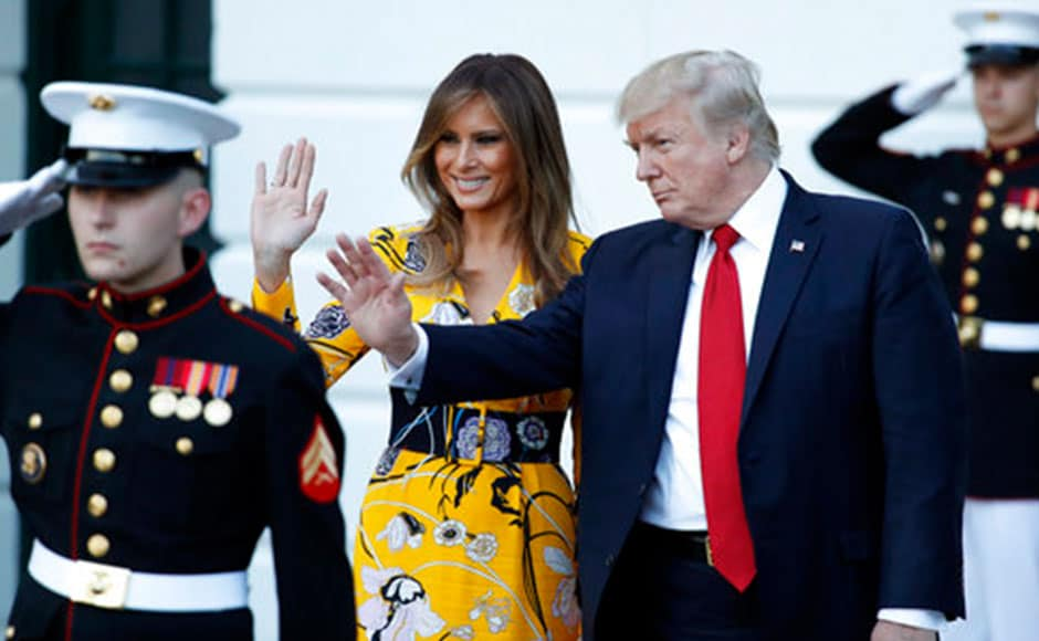 Trump gave a guided tour of the president's residence quarters in White House, while Modi presented a hamper containing a traditional silver bracelet, tea and honey from Kangra valley to Melania Trump. AP