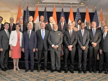 Prime Minister Narendra Modi with US business leaders. PIB image