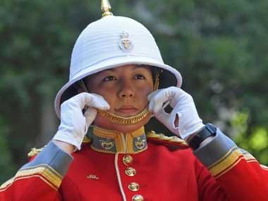 Canadian Captain Megan Couto at the Changing the Guard ceremony at Buckingham Palace in London. AP