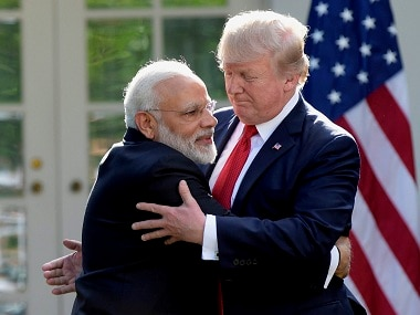 Washington : President Donald Trump and Indian Prime Minister Narendra Modi hug while making statements in the Rose Garden of the White House in Washington, Monday, June 26, 2017.AP/PTI(AP6_27_2017_000033B)