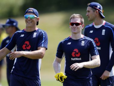 Britain Cricket - England Nets - Ageas Bowl - June 19, 2017 England's Tom Curran and Eoin Morgan during nets Action Images via Reuters / Paul Childs Livepic EDITORIAL USE ONLY. - RTS17QS2