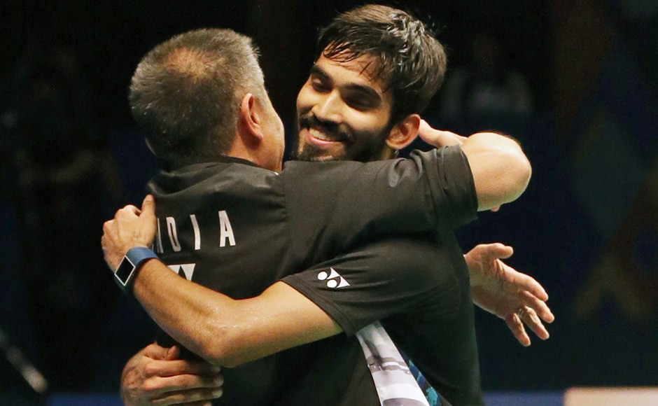 "It has been a major turnaround in fortune since Srikanth Kidambi trained under the aegis of Coach Mulyo Handoyo. After the match Kidambi credited the impact of his coach and said,"" ""I think he's very talented and am very lucky to have him."" AP"