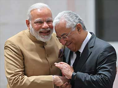 India's Prime Minister Narendra Modi, left and Portuguese Prime Minister Antonio Costa shake hands at the Necessidades Palace, the Portuguese Foreign Ministry in Lisbon, Portugal. PTI