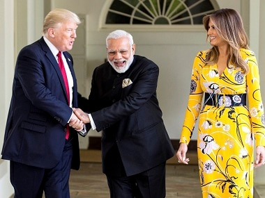 File image of Prime Minister Narendra Modi, US president Donald Trump and the first lady of USA, Melania Trump. PTI