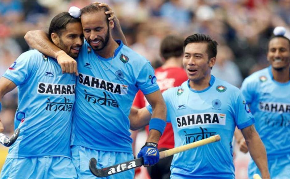 Indian hockey players celebrate their 7-1 win against Pakistan in their Group B clash of the Hockey World League Semi-final. Getty