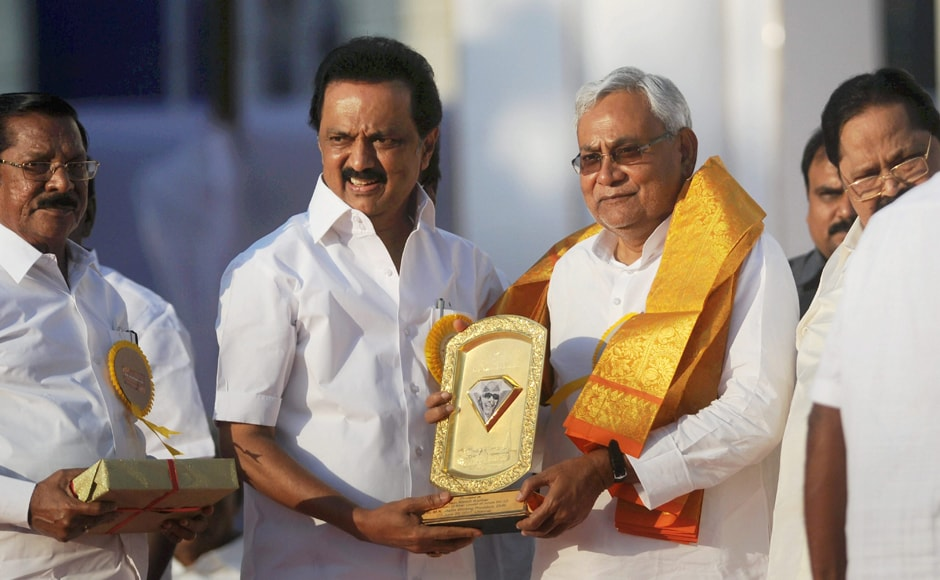 Hailing the DMK supremo for strengthening the social justice movement, Bihar CM Nitish Kumar pitched for total prohibition in the state if DMK came to power. He said the presence of several political bigwigs at the event reflected the respect Kalaignar (Karunanidhi) commanded in national politics. Kumar particularly lauded the DMK chief's role in implementing the Mandal commission's recommendations on OBC. PTI reservation.