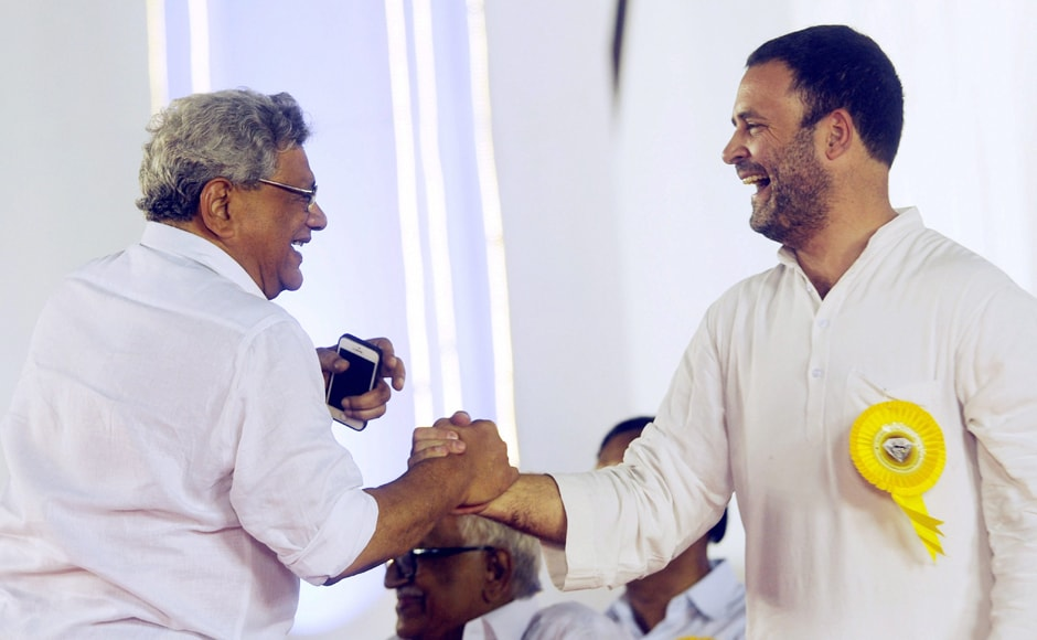 """CPM General Secretary Sitaram Yechury went ballistic against the BJP, saying """"private armies"""" were taking over the country and called for united efforts to face challenges posed by """"political polarisation."""" He was seen bantering with Congress VP Rahul Gandhi at the event. PTI"""